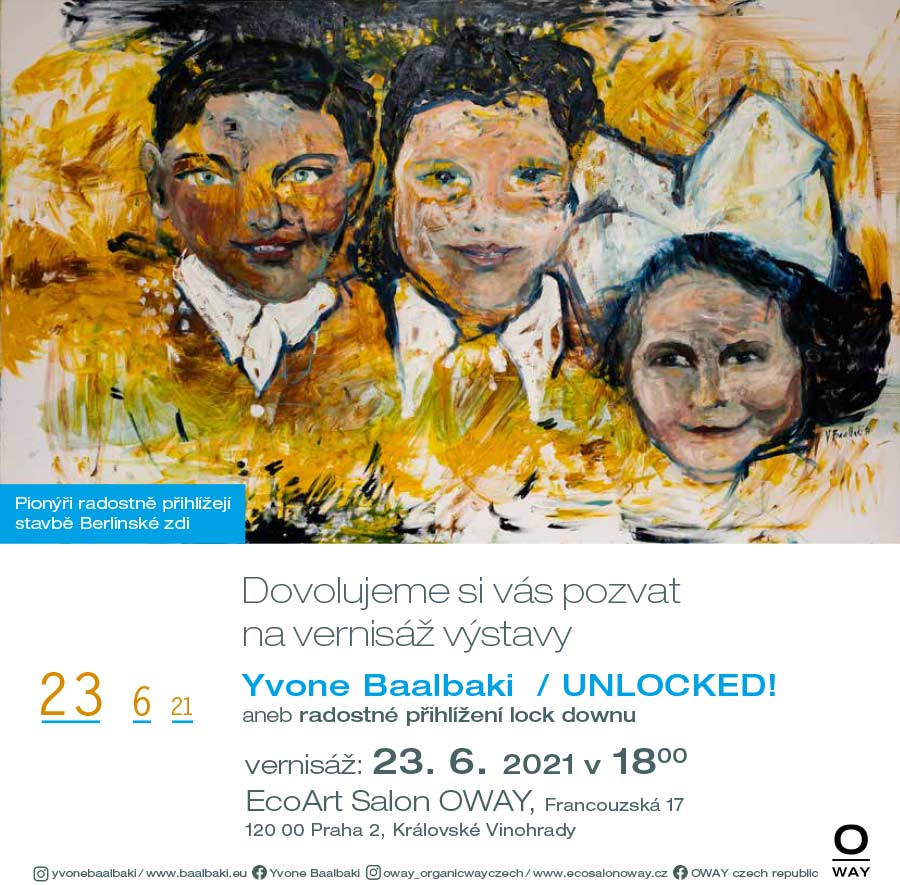 Pozvánka vernisáž Yvone Baalbaki - UNLOCKED - OWAY 23. 6. 2021